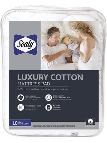 SEALY - T300 Luxury Cotton 135gsm Mattress Pad WHITE