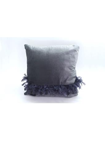 MAISON LUXE - Velvet Decorative Pillow with Feather Detail -Navy {#color}