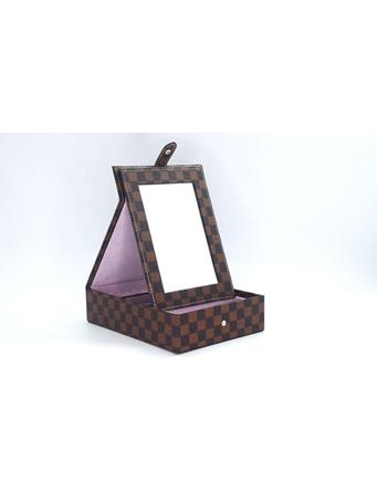 Jewelry Box In Designer Print With Fold Up Mirror BROWN
