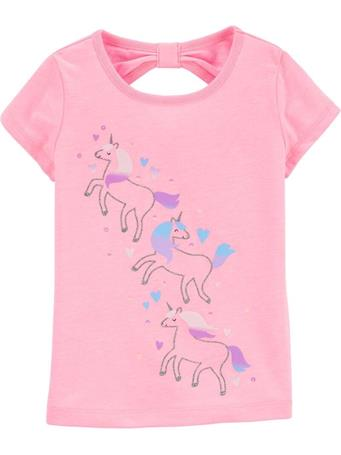 CARTER'S - Glitter Unicorn Bow Back Jersey Tee, Toddler Girl No Color
