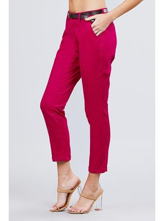 ACTIVE BASIC - Cotton Spandex Twill Long Pants With Belt {#color}