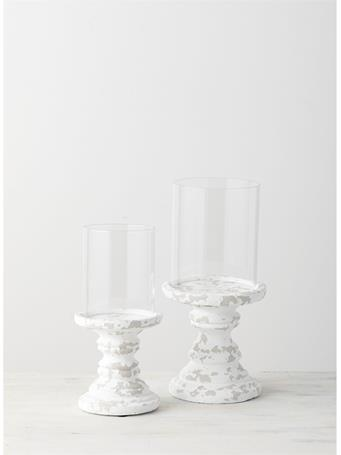SULLIVANS - Distressed Candle Pillars Set of 2, with Hurricane Glass WHITE