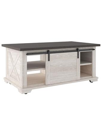 ASHLEY FURNITURE - Coffee Table Dorrinson White Barndoor WHITE