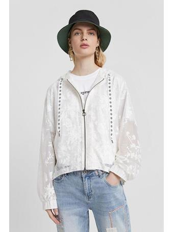 DESIGUAL - Semi-sheer Floral Jacket With Hood WHITE