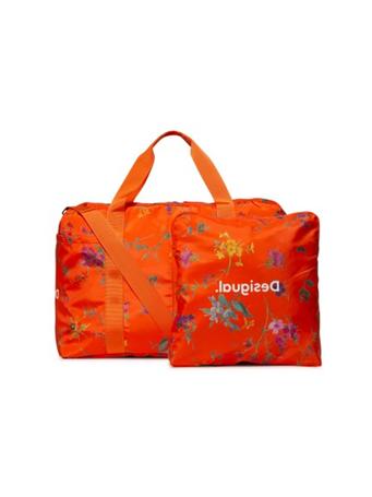 DESIGUAL - Sport Woven Shoulder Strap Bag Street Garden Print ORANGE