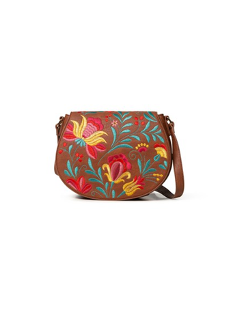 DESIGUAL - Embroidered Detail Cross Body Bag 6011-CAMEL