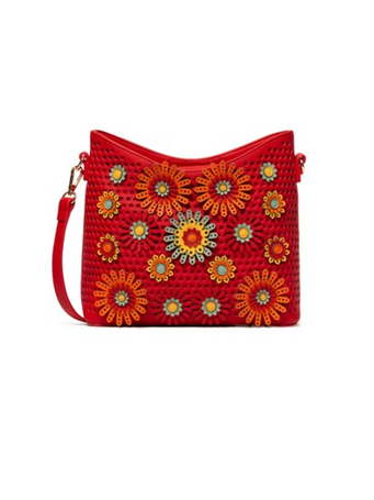 DESIGUAL - Bucket Bag With Perforation and Flowers Detail 3000-RED