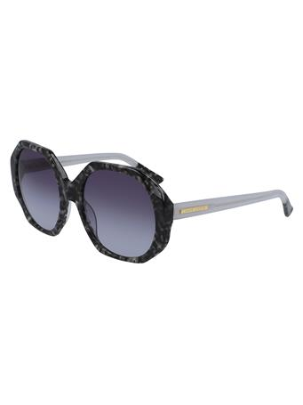 ANNE KLEIN Square Shape Sunglasses BLACK-TORT