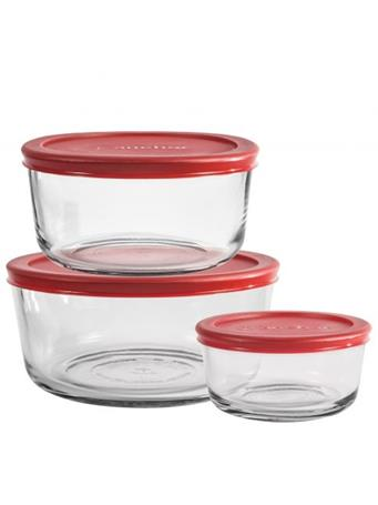 ANCHOR HOCKING - 6Pc Rnd Storage 2/4/7C With Red Lid NOVELTY