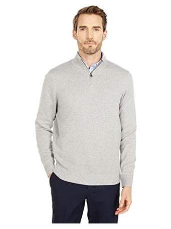 DOCKERS - Men's Quarter Zip Sweater GREY-HTR