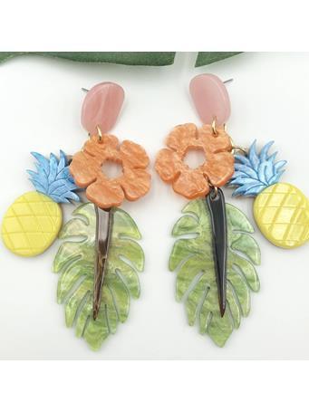 Tropical Pineapple Dangle Earrings No-Color