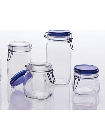 BORMIOLI ROCCO - Fido Square Storage Jars with Cobalt Lid - Assorted Sizes NOVELTY