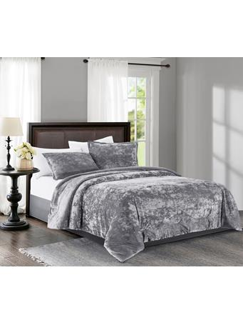 MAISON LUXE - Empire Velvet 3-Piece Comforter Set SILVER-GREY
