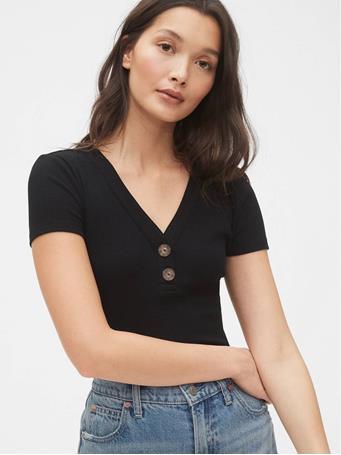 GAP - Ribbed Henley V-Neck T-Shirt 01-TRUE-BLACK