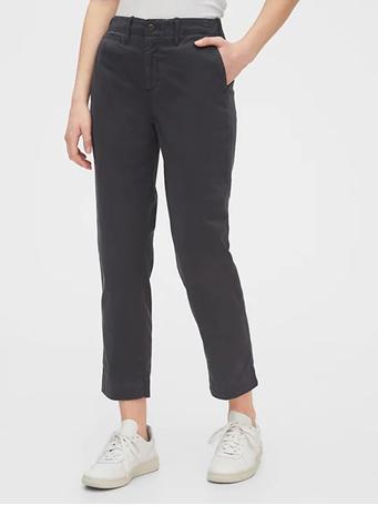 GAP - High Rise Straight Khakis -SPRING-NIGHT-BLACK