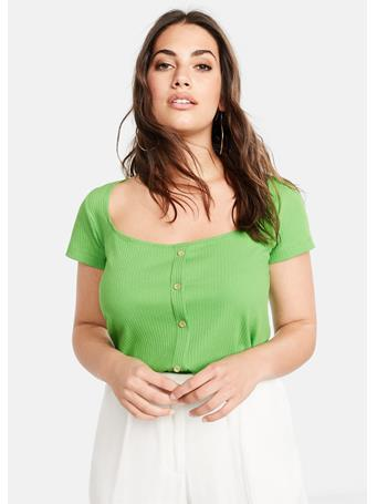Violeta by MANGO - Cayena Buttoned Ribbed T-Shirt 43-MED-GREEN