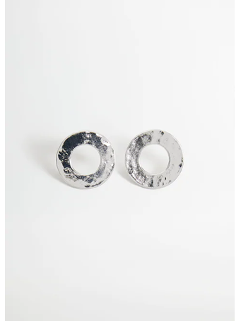 MANGO - Metallic Hoop Earrings SILVER