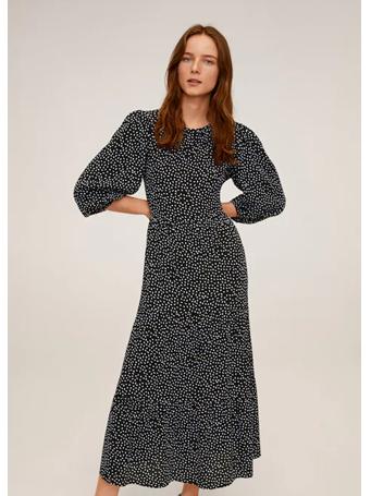 MANGO - Dot Print Maxi Dress BLACK