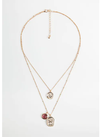 MANGO - Beaded double necklace GOLD