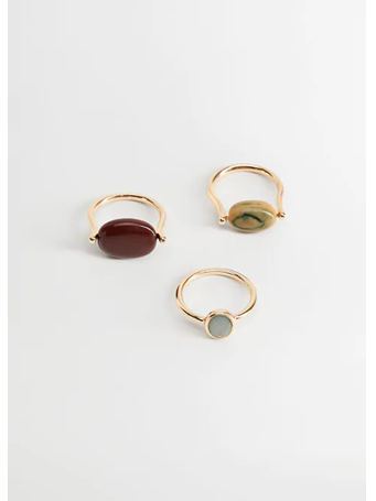 MANGO - Beaded Ring Set GOLD