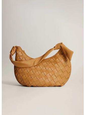 MANGO - Braided Shoulder Bag MED BROWN