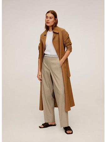 MANGO - Drawstring Waist Straight Trousers 9-MED-BROWN