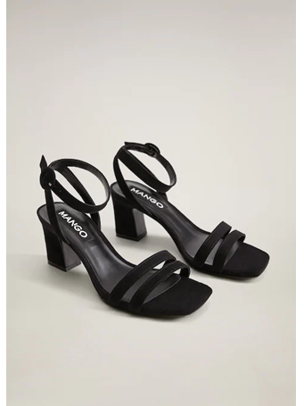 MANGO - Ankle-Cuff Sandals BLACK