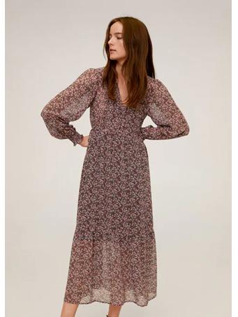 MANGO - Midi Floral Dress 85-MED-PINK