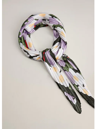 MANGO - Printed Pleated Scarf PURPLE