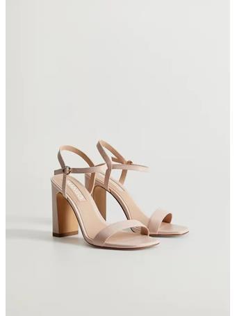 MANGO - High Heel Leather Sandals 80 LT BROWN