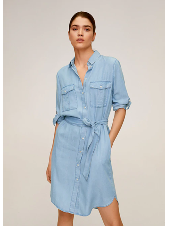 MANGO - Short Shirt Dress TM-MED-BLUE