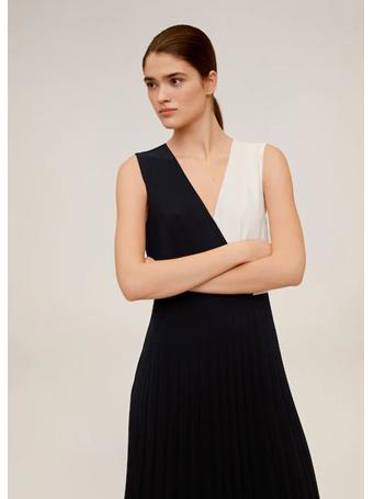 MANGO - Pleated Bi-Colour Dress BLACK