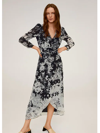 MANGO - Flowy Flower Printed Dress BLACK