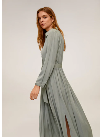 MANGO - Flowy Pleated Dress 45TURQUOISE