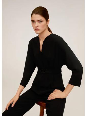 MANGO - Belted Long Jumpsuit BLACK