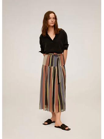 MANGO - Striped Midi Skirt 85-MED-PINK