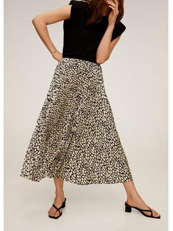 MANGO - Pleated Midi Skirt BLACK