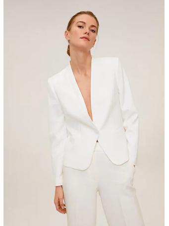 MANGO - Satin Collar Crepe Blazer WHITE