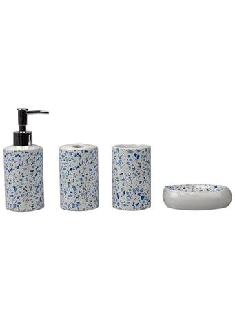 HOME BASICS - 4 Piece Terrazzo Bath Set  BLUE