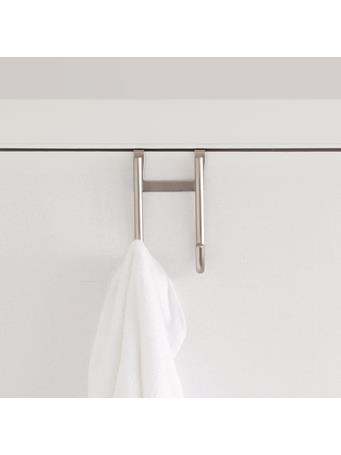 HOME BASICS - Brushed Satin Nickel Over The Door Double Hook SATIN