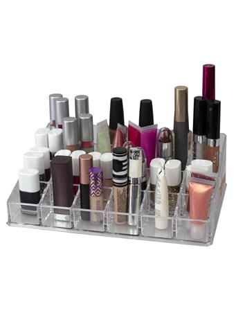 HOME BASICS - 24 Compartment Acrylic Cosmetic Organizer CLEAR