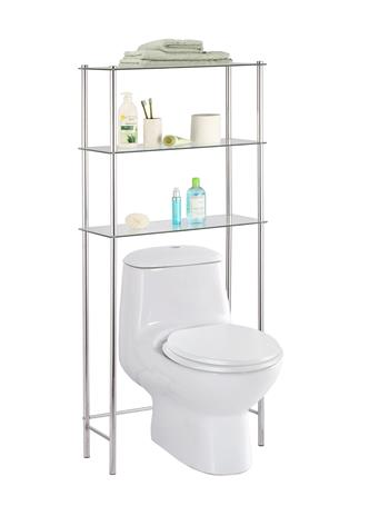 HOME BASICS - 3 Tier Tempered Glass & Chrome Space Saver CHROME
