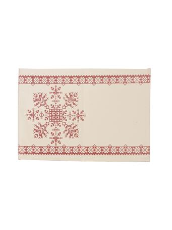 C&F - Cross Stitch Snowflake Placemat WHITE-RED