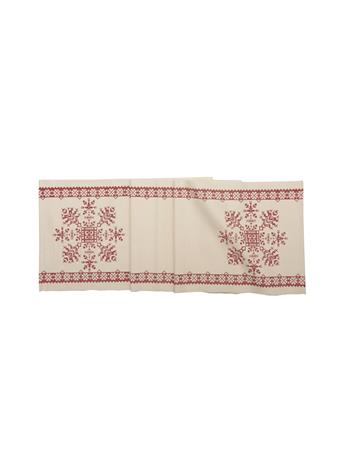 C&F - Cross Stitch Snowflake Table Runner WHITE/RED