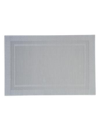 HOME ESSENTIALS - Rectangular Border Metallic Place Mat WHITE