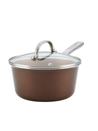 AYESHA CURRY COLLECTION - 3Qt. Nonstick Saucepan with Lid BROWN