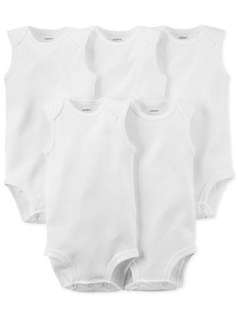 CARTER'S - 5 Pack Sleeveless Bodysuit WHITE