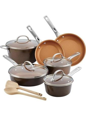 AYESHA CURRY COLLECTION - 12 Piece Porcelain Enamel Nonstick Cookware Set BROWN