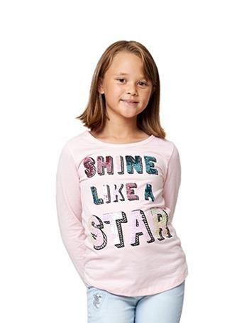 STAR RIDE - Long Sleeve  Graphic Flip Star Tee ALMOND