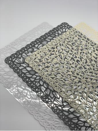 HOME ESSENTIALS - Clear Lace Print Placemat GREY